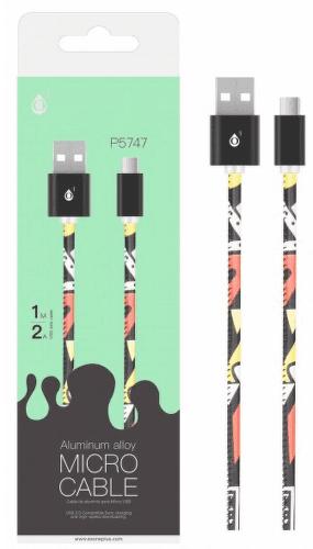 Aligator Plus microUSB kabel 2 A 1m, černá s motivem