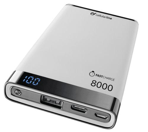 Cellularline FreePower Manta S 8000 mAh powerbanka, bílá
