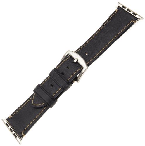 FIXED Berkeley řemínek pro Apple Watch 44 mm a 42 mm vel. L, uhlově černý se stříbrnou přezkou