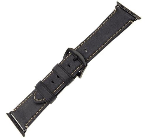 FIXED Berkeley řemínek pro Apple Watch 44 mm a 42 mm, uhlově černý s černou přezkou