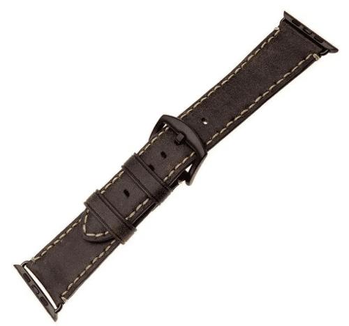 FIXED Berkeley řemínek pro Apple Watch 44 mm a 42 mm, uhlově hnědý s černou přezkou