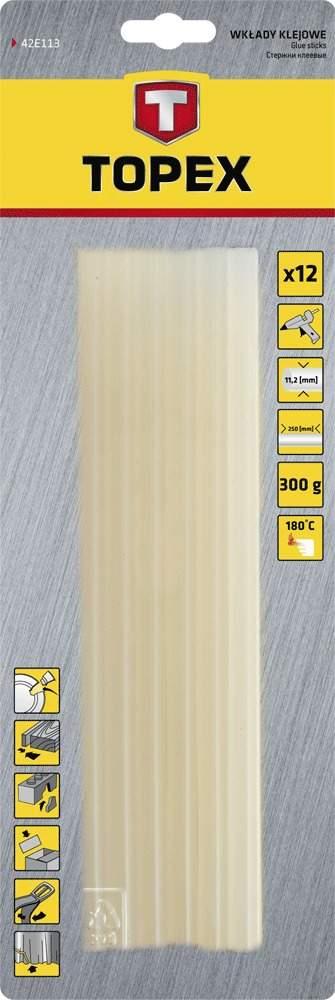 Topex 11mm 12ks bílý lepící tyčinky