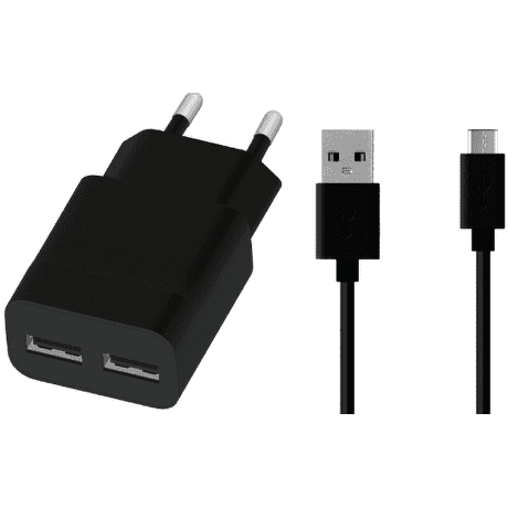 Winner síťová nabíječka 2xUSB + kabel Type C, černá
