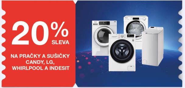 20 % sleva na pračky a sušičky Candy, LG, Whirlpool a Indesit