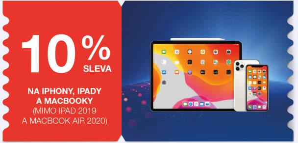 10 % sleva na iPhony, iPady a Macbooky (mimo iPad 2019 a Macbook 2020)