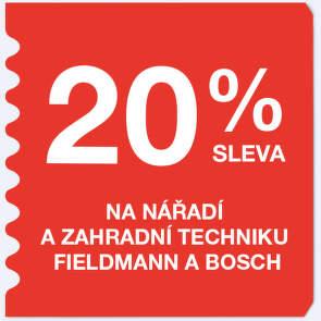 20 % sleva na zahradní techniku Fieldmann a Bosch