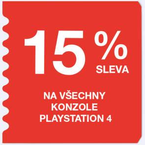 15 %  sleva na všechny konzole Playstation 4